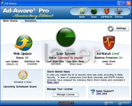 Lavasoft Ad-Aware for protection against malware and adware