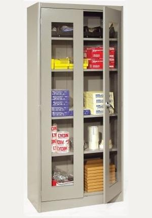 A cabinet with doors