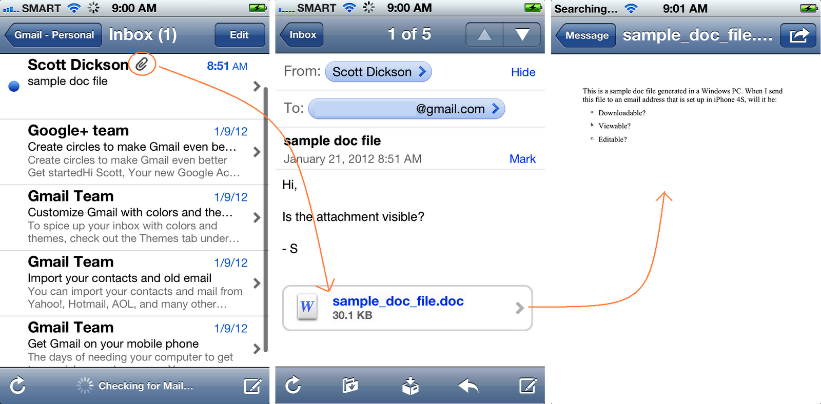 Saving email attachments on iPhone
