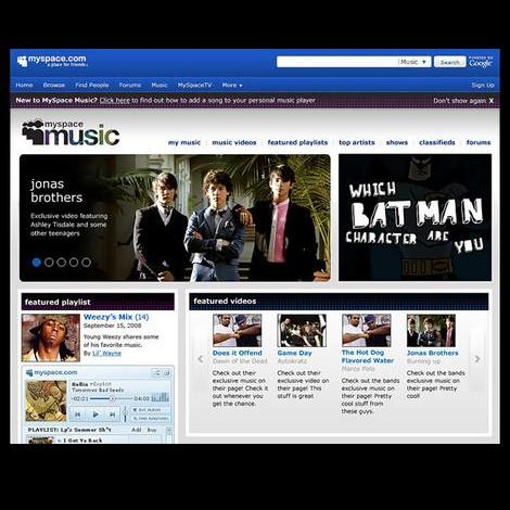 MySpace's new music page.