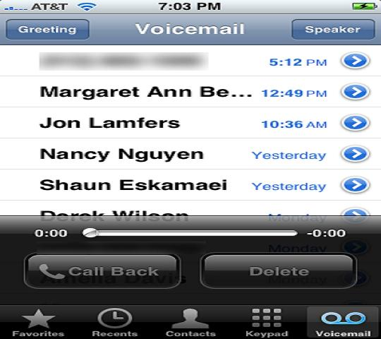 iphone displaying list of voicemails