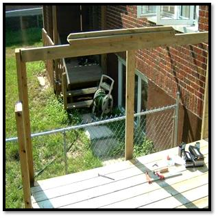 Deck railing System - Pipe Deck Rail, Scenic Clear Glass balusters