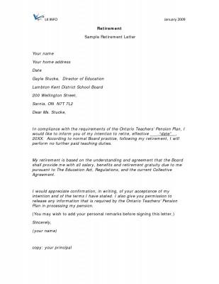Retirement Letters Samples