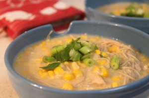 Tomoto and sweetcorns soup