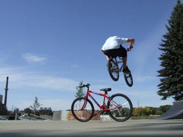 Bunny hop on a mountain bike