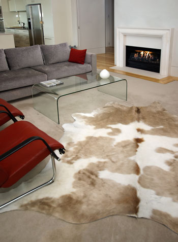 Room decorated with Cowhide Rug