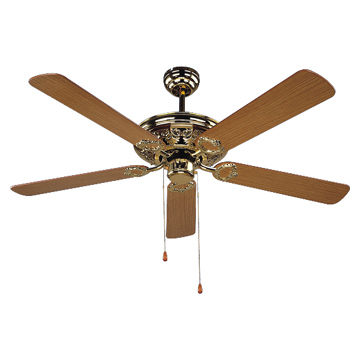 A ceiling fan having five blades