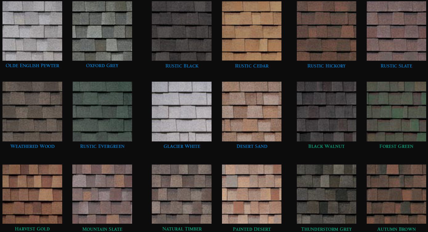Different colours in architectural shingles