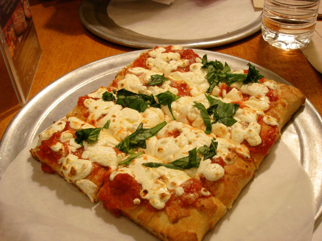 Flatbread pizza served in plate