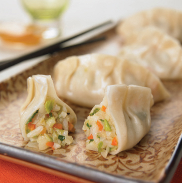 Serving of vegetarian pot stickers