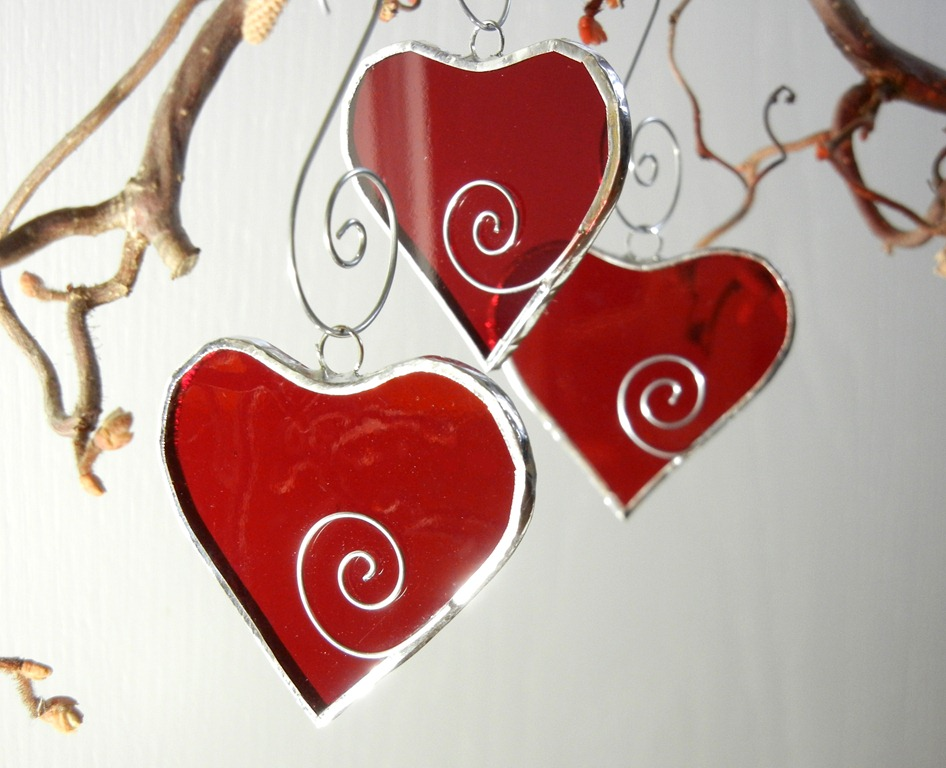 Finished stained glass hearts