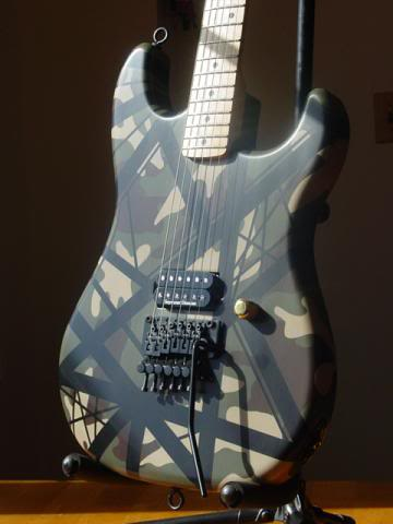 Digital Camouflage Pattern on Guitar