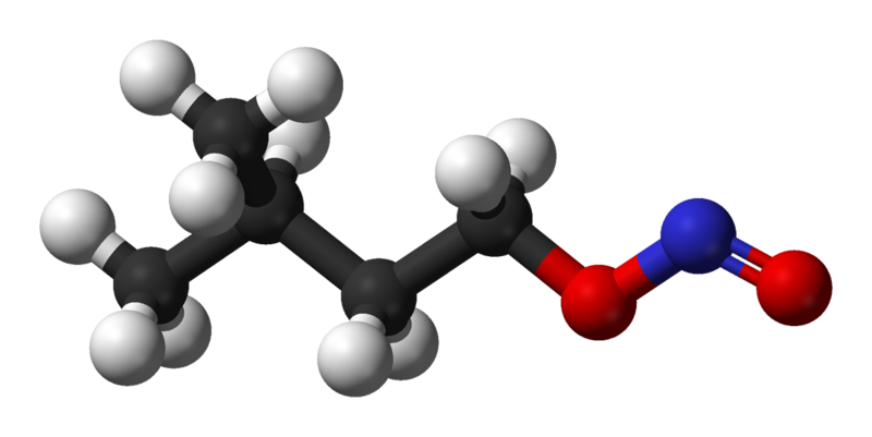 Ball and stick model of amyl nitrite