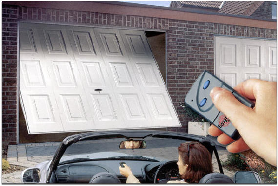 Opening a garage door with a garage door opener