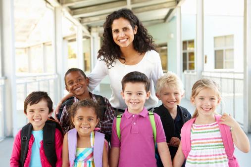 Schoolchildren Standing Outside With Teacher