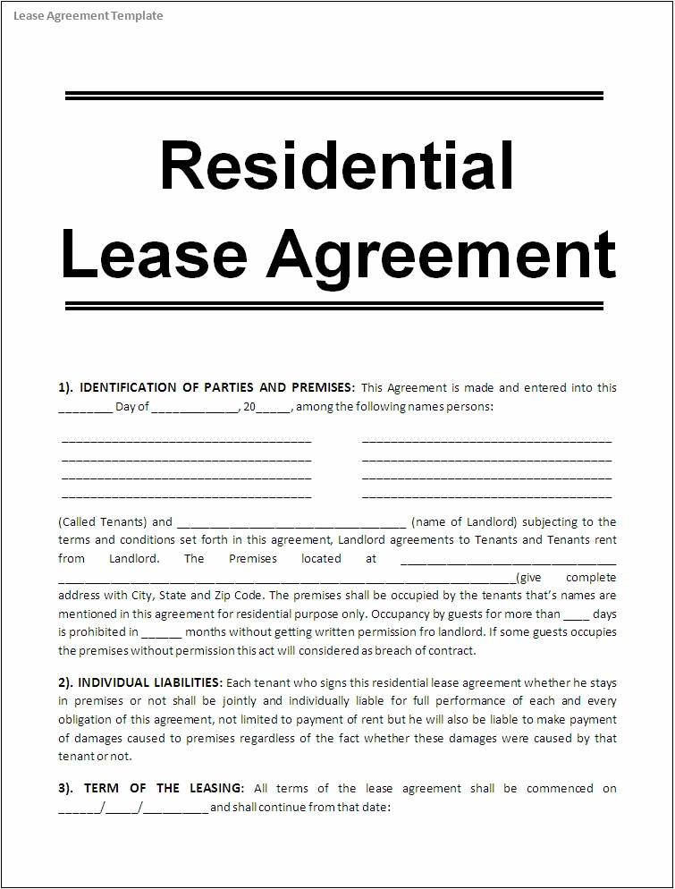 house rental lease agreement templates