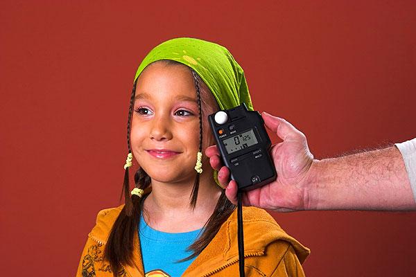A photographer using a photo light meter