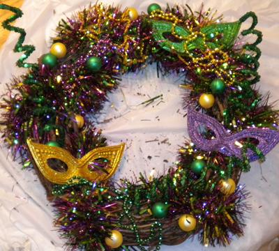 Festive Mardi Gras Wreath