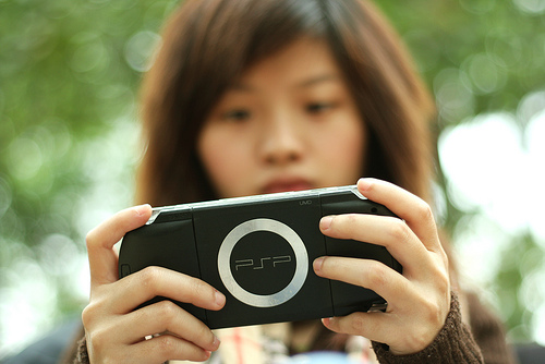 Girl with PSP