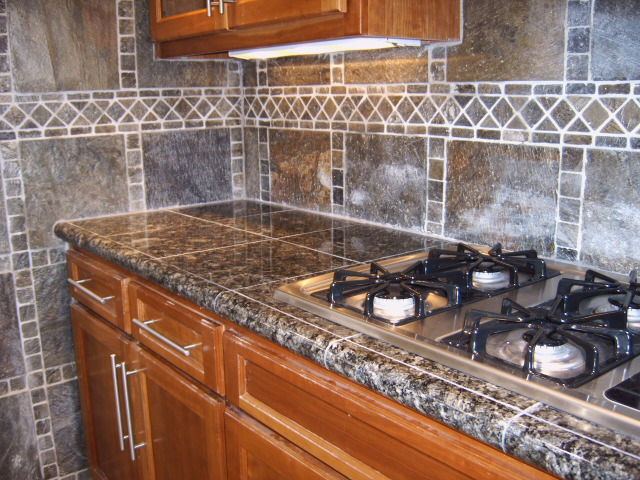 how to lay black granite tile on countertops