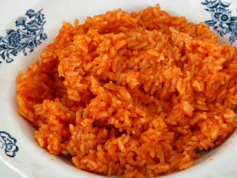 Mexican rice served in plate