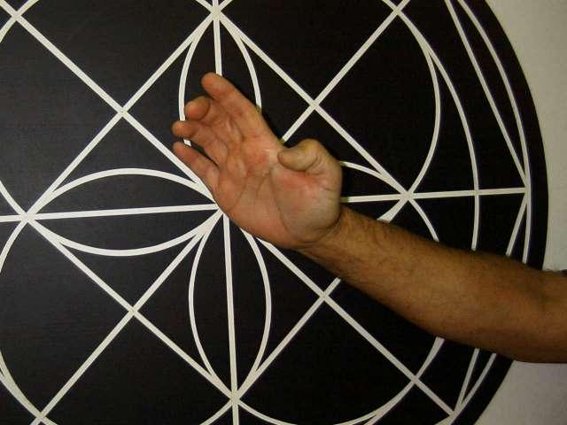 Man practicing knife hand strike
