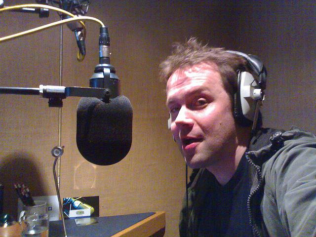 Man recording an interview