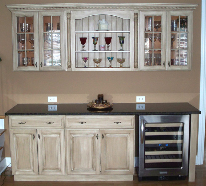 Properly stained and glazed cabinets