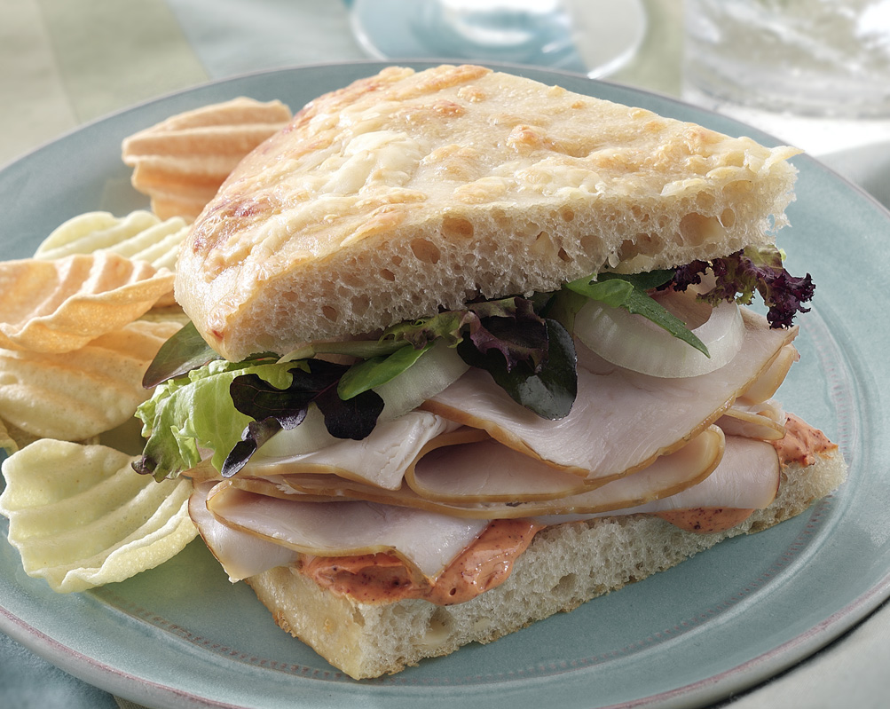 Smoked turkey in sandwich