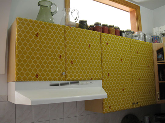 Use Posters on Kitchen Cabinets