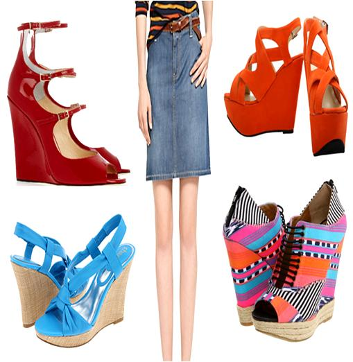 Wedge Shoes to Wear with Denim Skirts