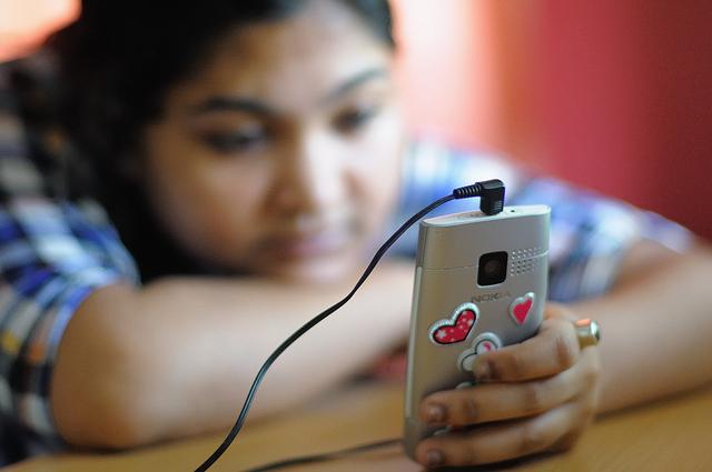 Girls using mobile
