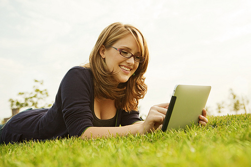 Girl using iPad
