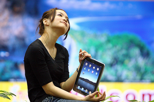 Girl using tablet