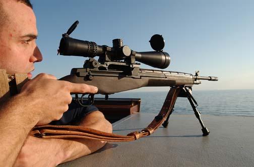 Taking aim through rifle sight
