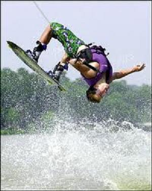 frontside back roll on a wakeboard
