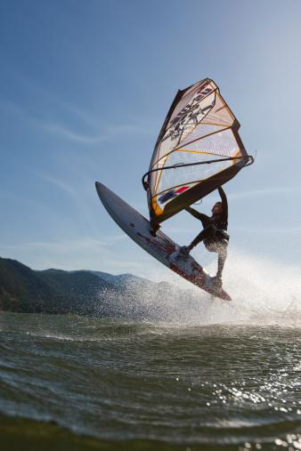 Doing an Upside-Down Jump on a Windsurf Board