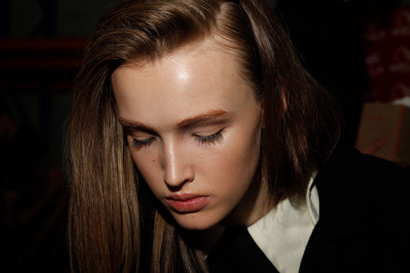 Girl with oily hair