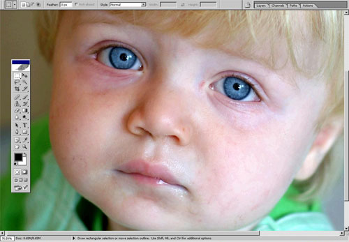 Removing blemish in Photoshop