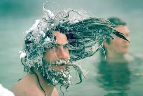 Man with frozen hair at a hot spring