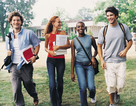 Students walking around