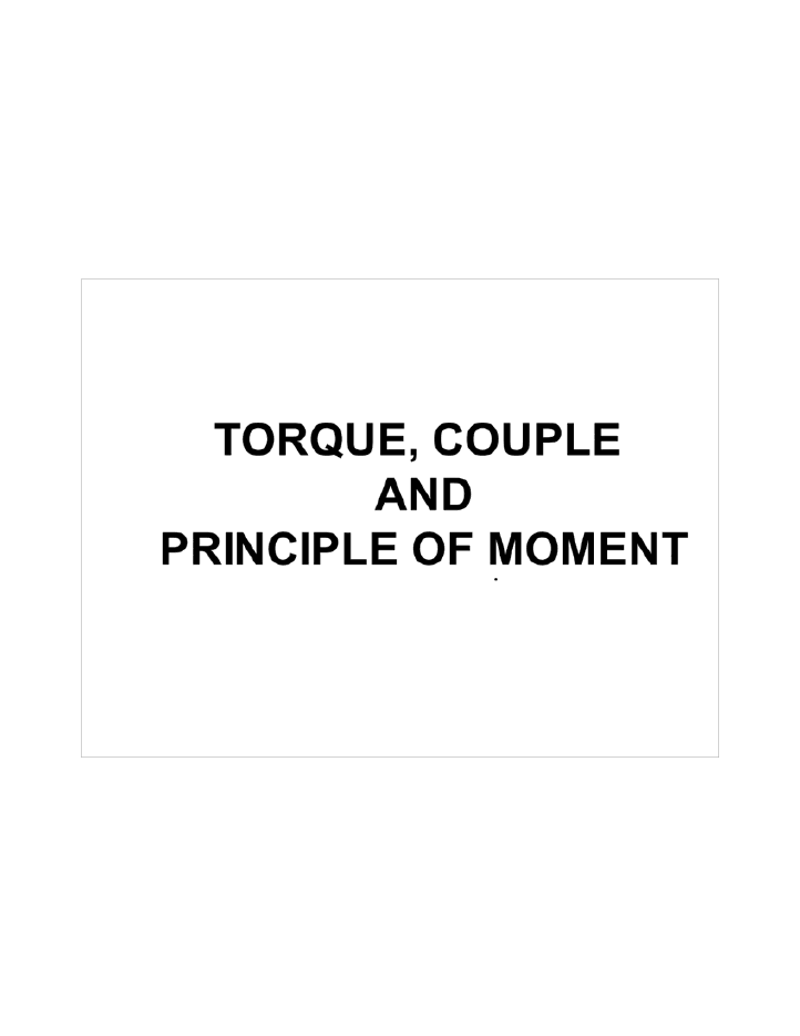 Torque and Couple