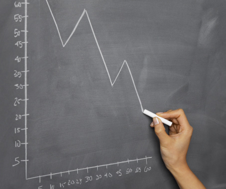Woman Drawing Graph on Blackboard