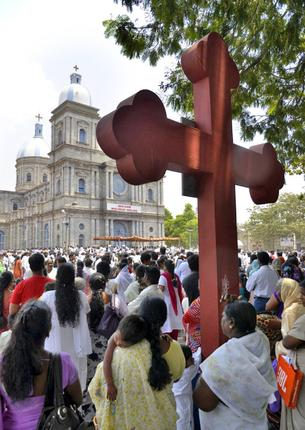 Crowd outside the church