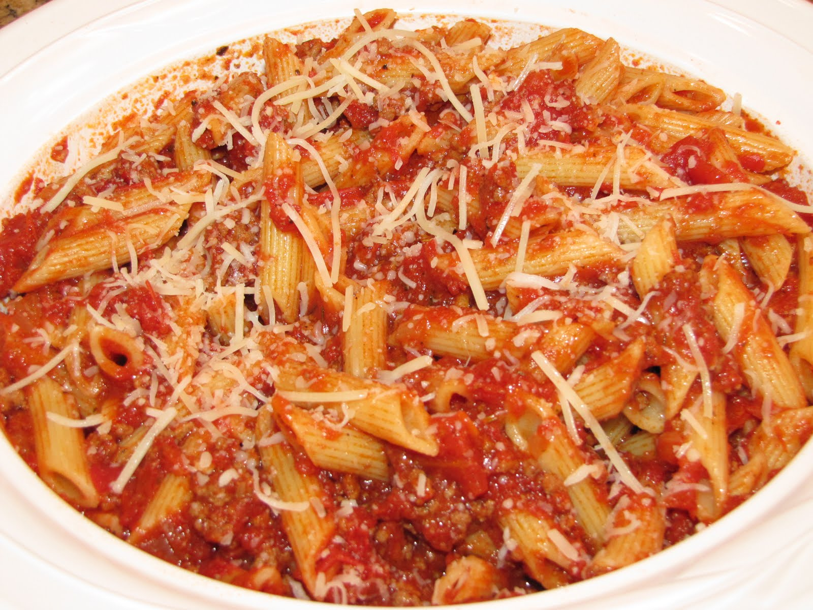 Penne Pasta With Meat Sauce Recipe — Dishmaps