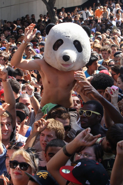 Boy wearing Panda Head
