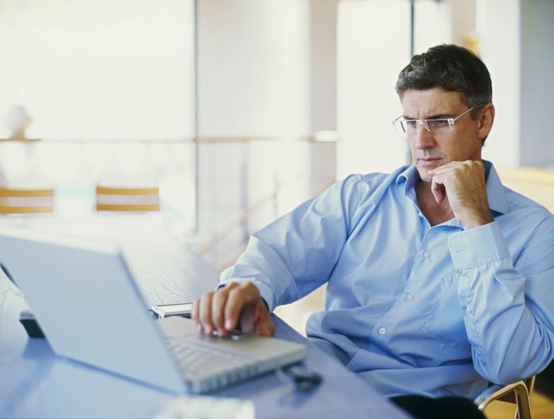 Man writing email