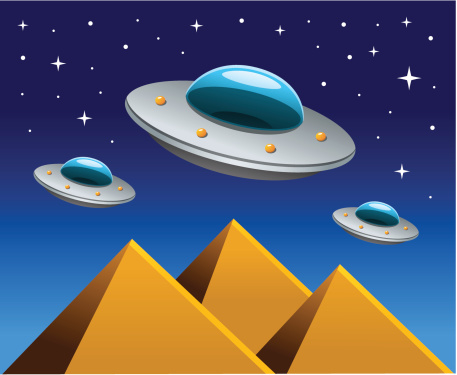 Flying Saucers with Pyramids