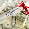 diploma with ribbon and stacks of one hundred dollar notes