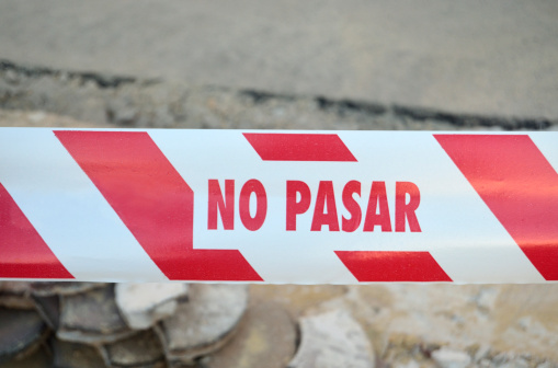 Police 'No Entry' tape in Spain